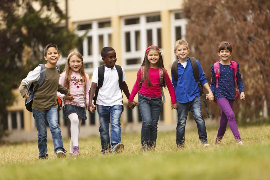 School children having fun after school