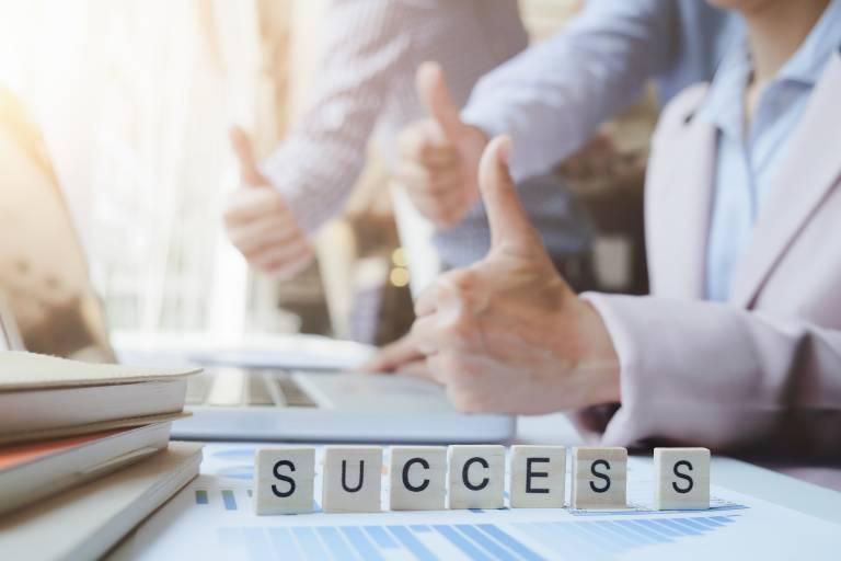 Business teamwork success concept.